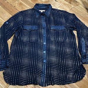 Ellen tracy sheer gold navy shirt blouse size M